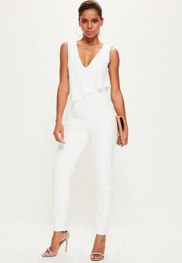 White Asymmetric Double Layer Plunge Jumpsuit