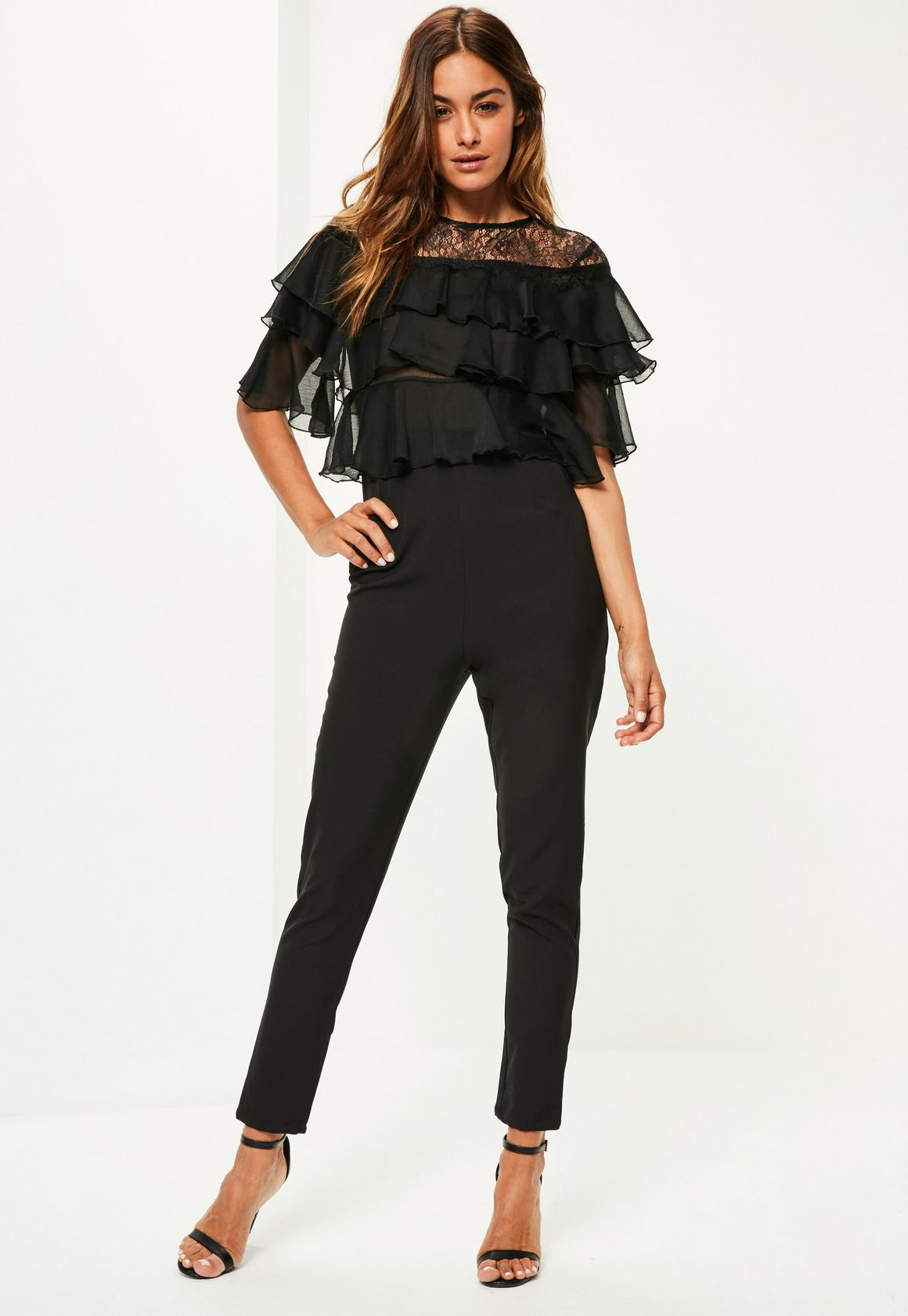 Black Lace Frill Sleeve Jumpsuit | Missguided