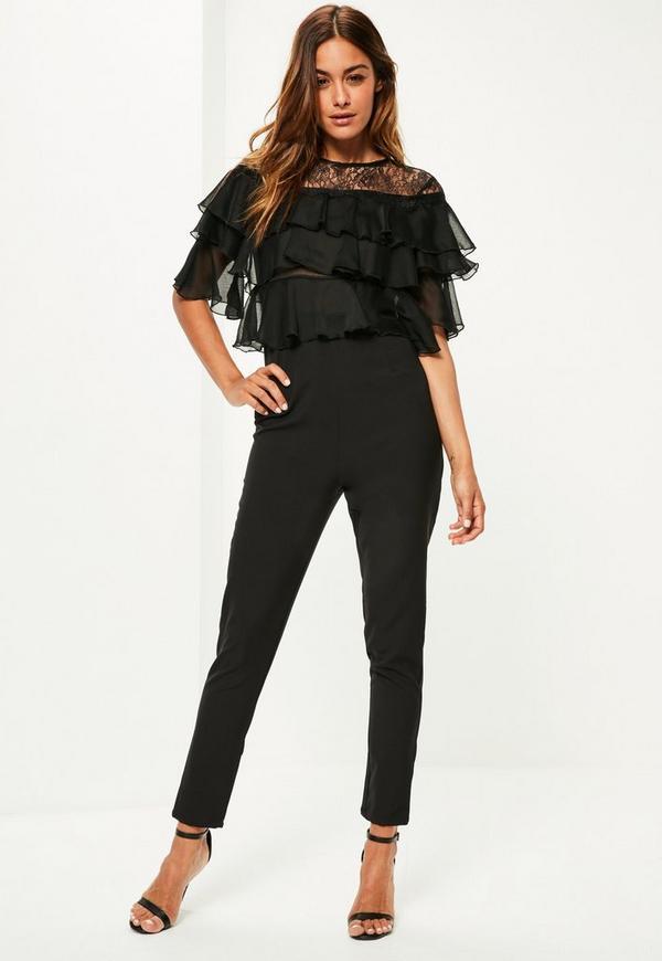 Black Lace Frill Sleeve Jumpsuit