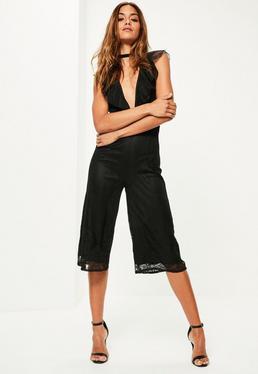 Black Lace Ruffle Front Culotte Jumpsuit