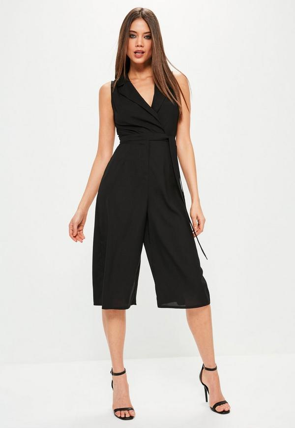 Black Tuxedo Sleeveless Wrap Culotte Jumpsuit