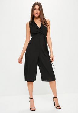 Combi-jupe-culotte noire sans manches style blazer