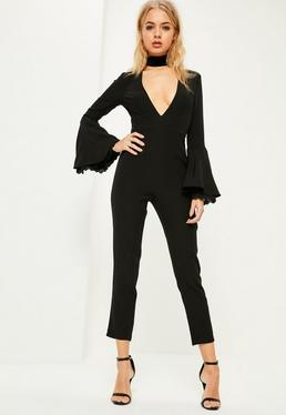 Black Lace Cuff Flare Sleeve Jumpsuit