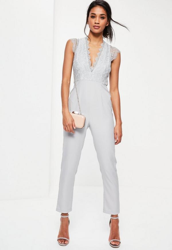 Grey Lace Sleeveless Plunge Jumpsuit