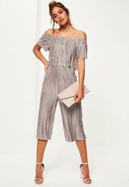 Grey Bardot Crinkle Culotte Jumpsuit
