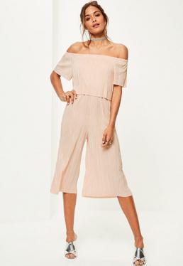 Pink Bardot Crinkle Culotte Jumpsuit
