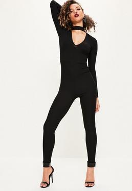 Black Tab Neck Rib Jumpsuit