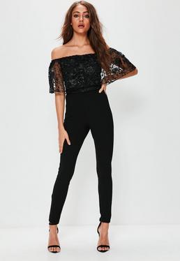 Black Floral Lace Top Bardot Layer Jumpsuit