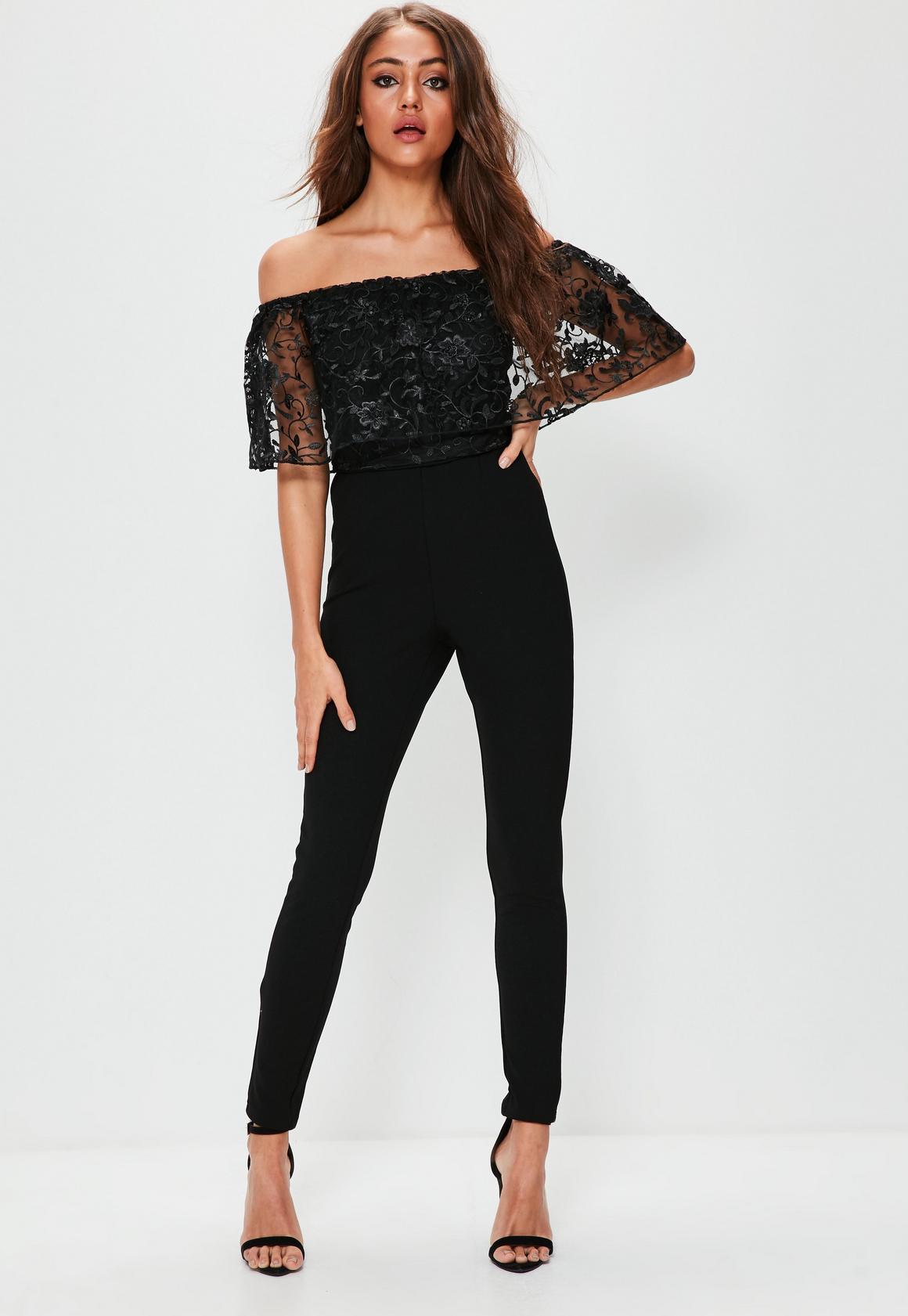 Black Floral Lace Top Bardot Layer Jumpsuit | Missguided