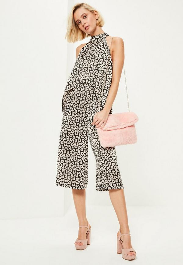 Black Leopard Print High Neck Double Layer Culotte Jumpsuit