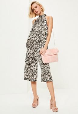 Mono Largo con Culotte de Cuello Alto con Estampado de Leopardo en Negro