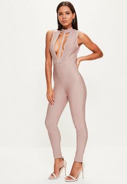 Premium Bandagen-Jumpsuit mit Riemendesign
