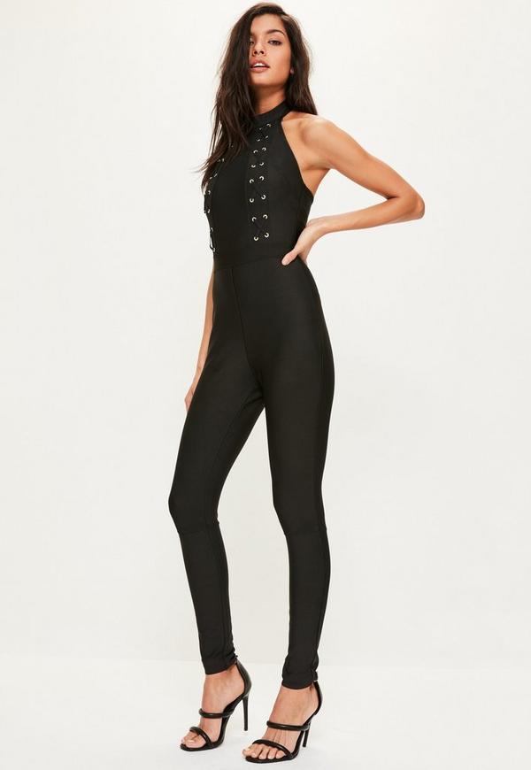 Premium Black Lace Up Front Bandage High Neck Jumpsuit