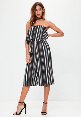 Black Striped Bandeau Culotte Jumpsuit