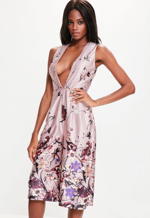Pink Floral Print Satin Plunge Culotte Jumpsuit