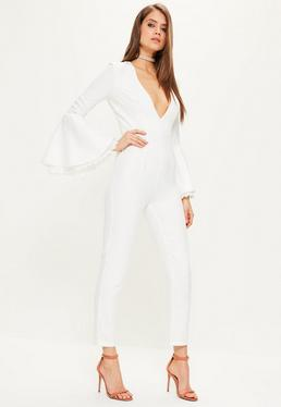 White Lace Cuff Flare Sleeve Jumpsuit