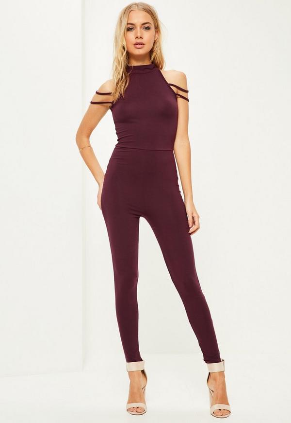 Purple Jersey High Neck Shoulder Strap Jumpsuit