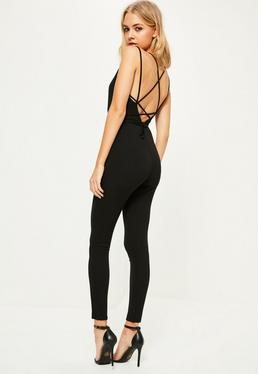 Black Crepe Plunge Wrap Around Strappy Jumpsuit