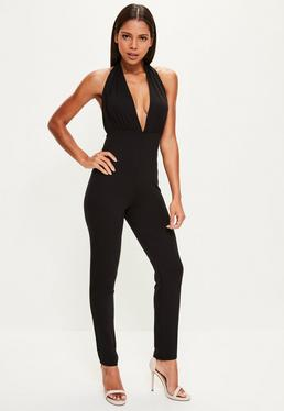 Black Jersey Plunge Halterneck Jumpsuit
