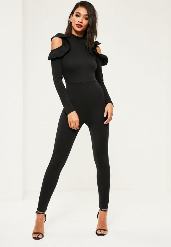 Black High Neck Cold Shoulder Frill Jumpsuit