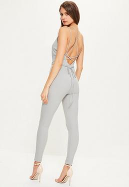 Grey Crepe Plunge Wrap Around Strappy Jumpsuit