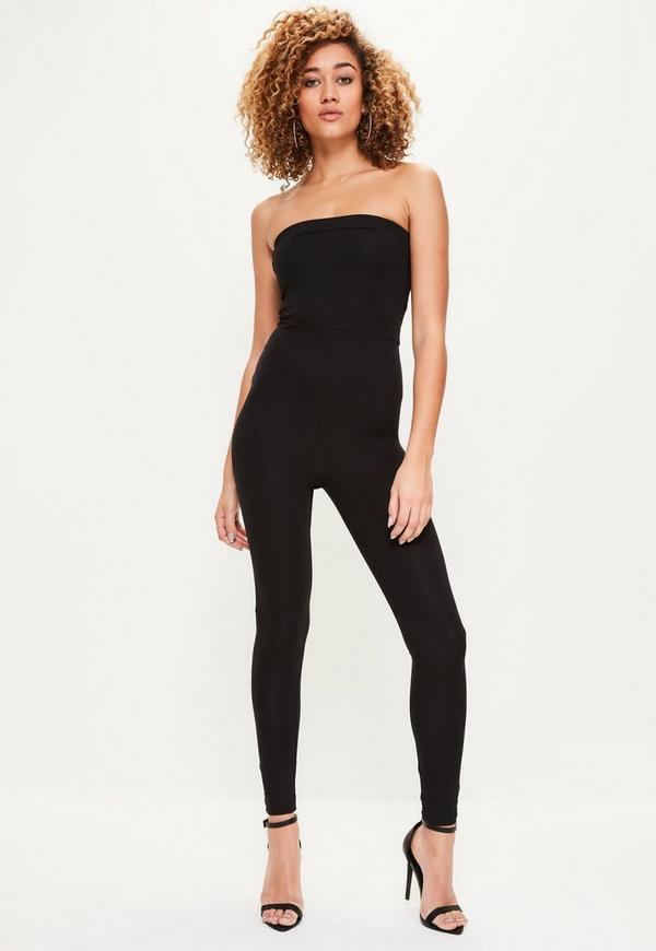 Black Bandeau Jersey Jumpsuit - Missguided