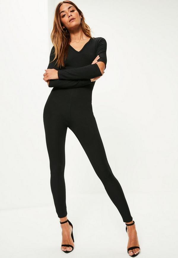 Black Ribbed V Neck Cold Elbow Jumpsuit