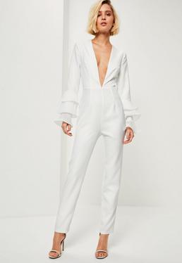 White Pleated Flute Sleeve Jumpsuit
