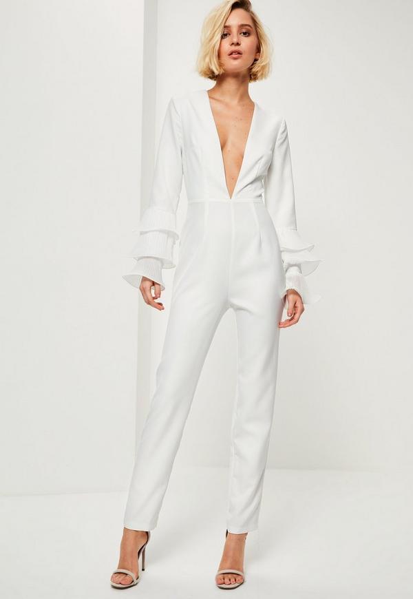white pleated flute sleeve jumpsuit missguided. Black Bedroom Furniture Sets. Home Design Ideas