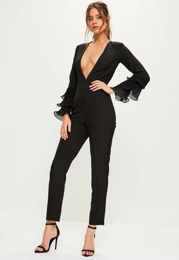 Black Pleated Flute Sleeve Jumpsuit