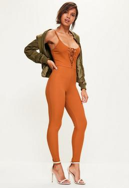 Orange Ribbed Lace Up Strappy Unitard Jumpsuit