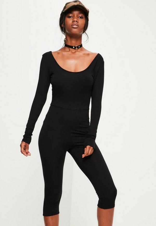 Black Scoop Neck Cropped Unitard Jumpsuit