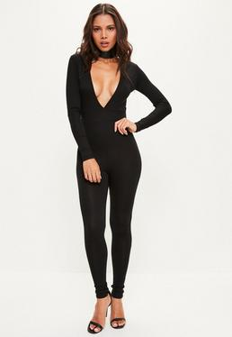 Black Deep Plunge Long Sleeve Unitard Jumpsuit