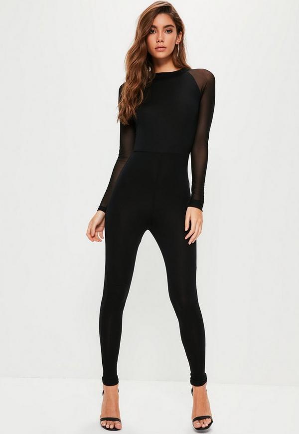 Black Mesh Sleeve Jersey Unitard Jumpsuit