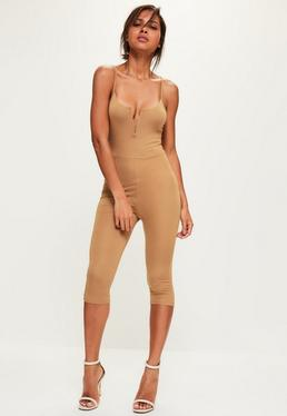 Camel V Bar Strappy Jersey Cropped Unitard Jumpsuit