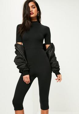 Black Short Sleeve Cropped Unitard Jumpsuit