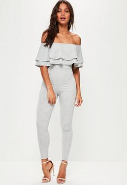 Grey Loopback Bardot Frill Jumpsuit