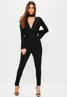 Black Jersey Wrap Front Belted Choker Neck Jumpsuit