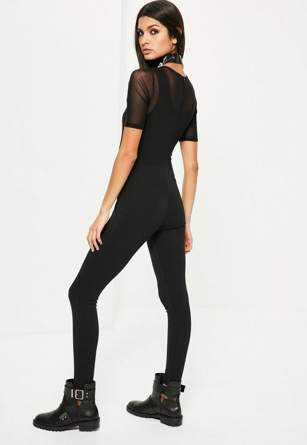 Black Mesh Overlay Rock Tee Jumpsuit