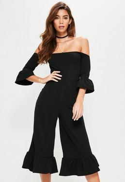 Black Frill Cuff Culotte Bardot Jumpsuit