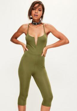 Khaki V Bar Strappy Jersey Cropped Unitard Jumpsuit