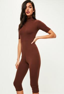 Brown High Neck Short Sleeve Cropped Unitard Jumpsuit