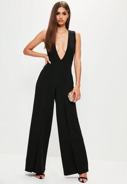 Black Origami Layered Wide Leg Plunge Jumpsuit