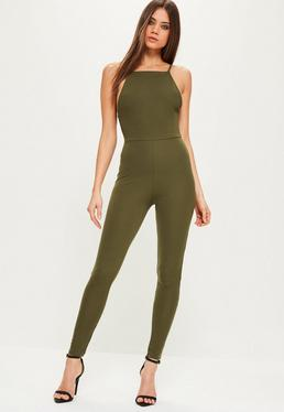 Khaki Crepe Low Back Ankle Grazer Jumpsuit