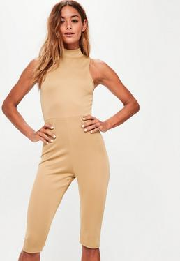 Camel Scuba High Neck 3/4 Leg Unitard Jumpsuit