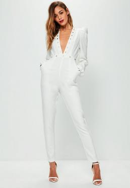 White Studded Plunge Ruched Sleeve Jumpsuit