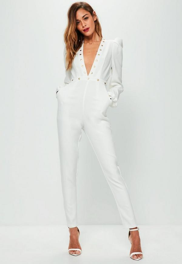 White studded plunge ruched sleeve jumpsuit missguided - Jumpsuit hochzeit ...