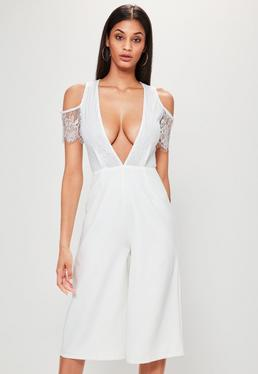 White Lace Top Cold Shoulder Culotte Jumpsuit