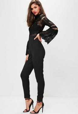 Black Crochet Lace Top Flare Sleeve Jumpsuit