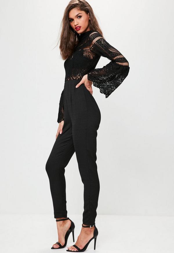 Black Crochet Lace Top Flare Sleeve Jumpsuit